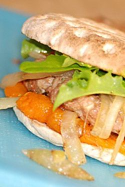 Turkey Burgers with Roasted Orange Peppers - recipe for healthy eyes #healthyrecipes #recipes #eyehealth  http://www.queencreekeyecare.com/