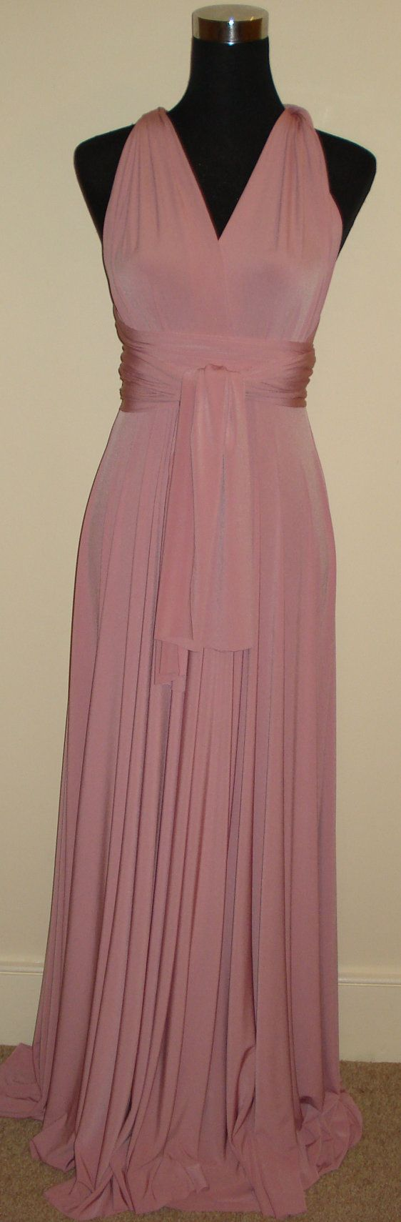 Soft Touch dusky pink floor length infinity multiway convertible wrap bridesmaid/wedding/formal/evening wear dress