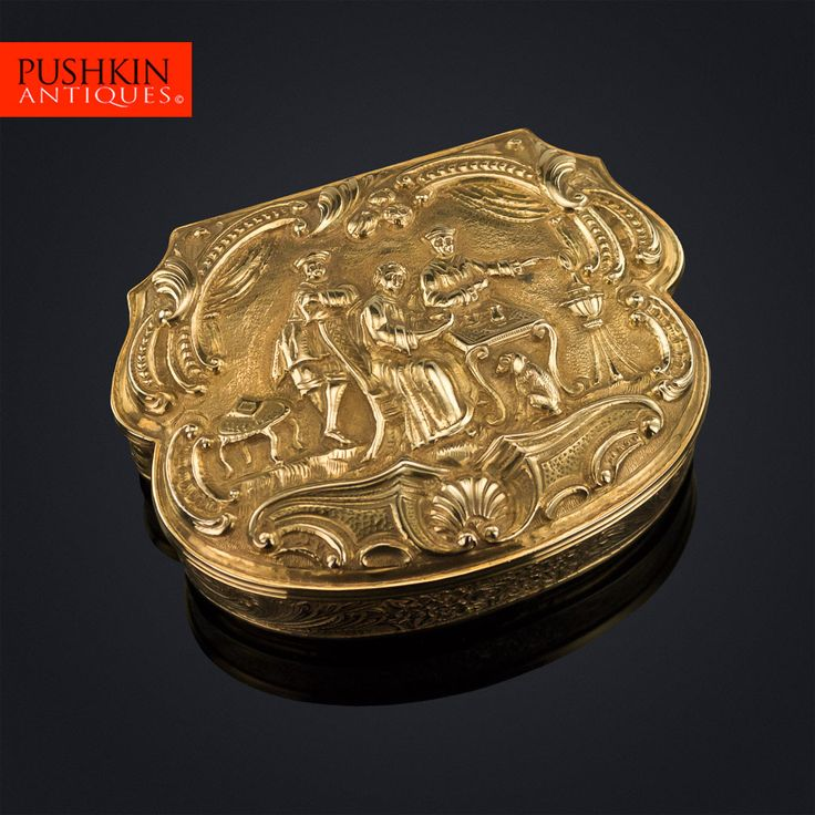 ANTIQUE 19thC GERMAN 18K SOLID GOLD DECORATIVE SNUFF BOX, HANAU c.1840