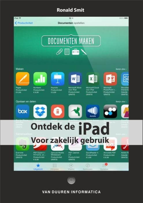 Ontdek de iPad voor zakelijk gebruik  Werk efficiënter met de iPad! De iPad is naast een leuk apparaat ook een nuttig apparaat. Via wifi legt u verbinding met de wereld of het bedrijfsnetwerk handelt u mail af en werkt u in de cloud. Met de vele beschikbare kantoortoepassingen is er geen reden om uw iPad niet ook zakelijk in te zetten. Dit praktische en kleurrijke boek bespreekt een scala aan toepassingen waarmee u uw iPad optimaal en efficiënt gebruikt voor werk of studie. Uit de inhoud…