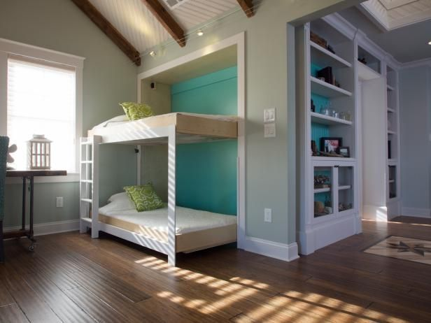 Transform a spare room or media room into a guest bedroom with addition of a Murphy bunk bed that holds two twin mattresses. From the experts at DIYNetwork.com.
