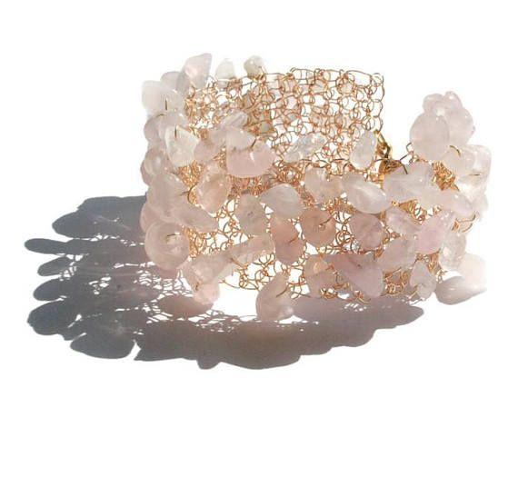 Rosa pulsera de cuarzo pulseras de piedras preciosas cuarzo