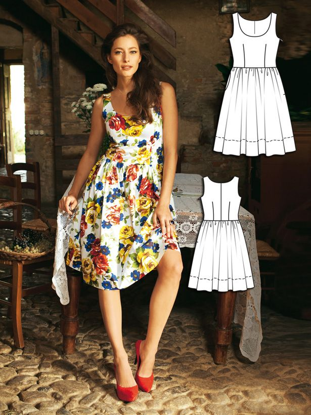 Burda Style: Havana Nights: Draft your own full skirt to go with a pretty tank bodice to make this summer dress. You'll want to wear this dress to tiki parties, spring weddings, and afternoon dates. Pick a bold floral to get noticed!