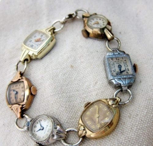 Vintage watches upcycled into a bracelet. Spotted on Pinterest here. Source: mLindvall on Etsy here.