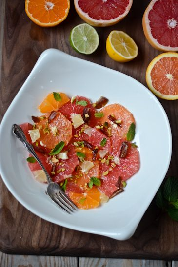 Grapefruit, date and pistachio salad...Even if you're not allergic to citrus, oranges can be a cross reactor during ragweed season.
