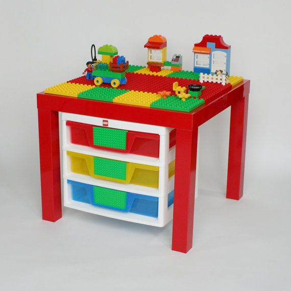 Duplo Table with 3 Storage Drawers. High Gloss Red Table with Red/Yellow/Green Plates.