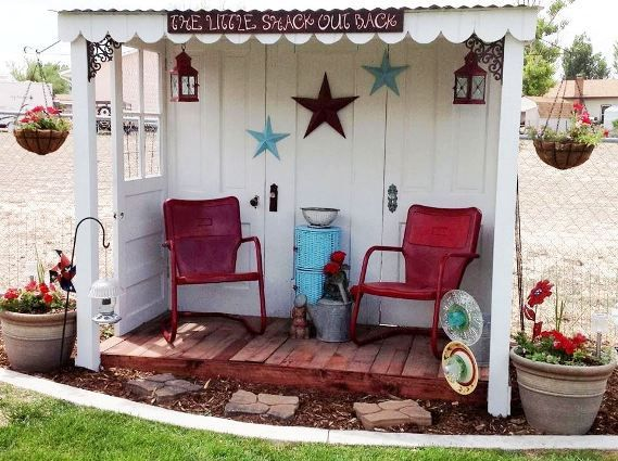Jodi Mihelich used five discarded doors to make a charming sitting area.  Cut idea for a garden sitting area, plant clematis to climb it or heirloom roses