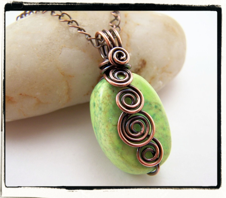 049 Green Turquoise Freeform Antique Copper Spirals Pendant no Chain. $19.99, via Etsy.