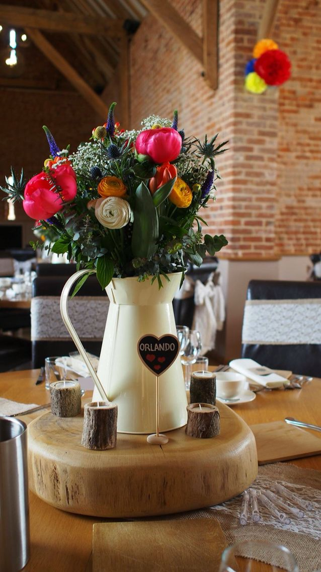 Wedding table centrepiece country cream jug wooden for Table centrepiece