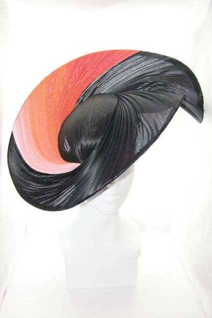 Black & Ombre wide brimmed hat - Bonnie Evelyn Millinery. The swirl of abaca sinamay fabric