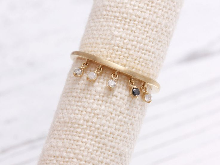 0.02ct Natural Diamonds Dangling Solid Gold Matte Band Ring by MELLOWJDesign on Etsy https://www.etsy.com/listing/294411195/002ct-natural-diamonds-dangling-solid