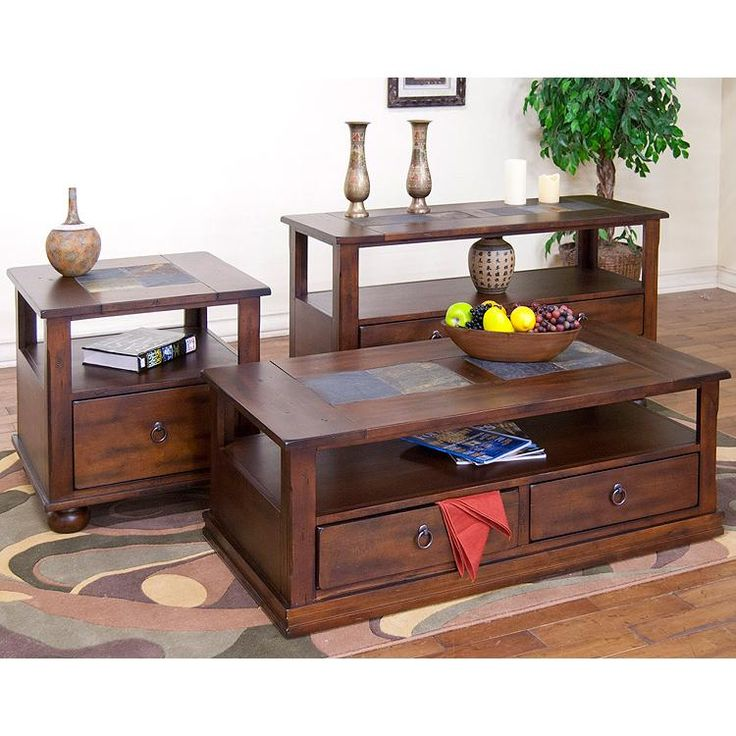 Sunny Designs   Santa Fe Coffee Table With Drawers And Casters In Dark  Chocolate