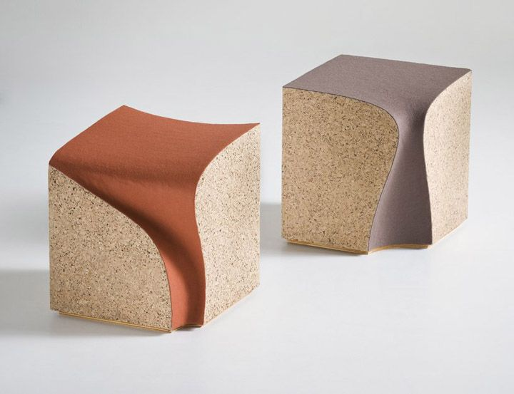 The stools were designed for a wine testing room in the north east of italy. Starting with the form of a pure cube the seat is excavated from a block of cork. The excavated seat finds its way down the back almost like a liquid has been poured on to it and flows down finding and making its own path.