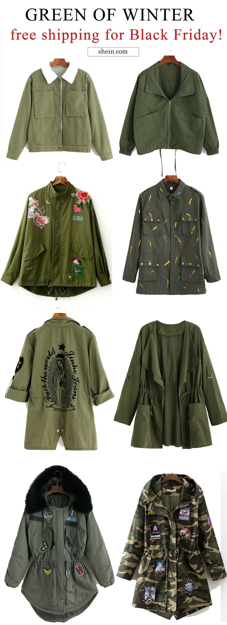 Green outwear collect. Free shipping & 40% off at shein.com.