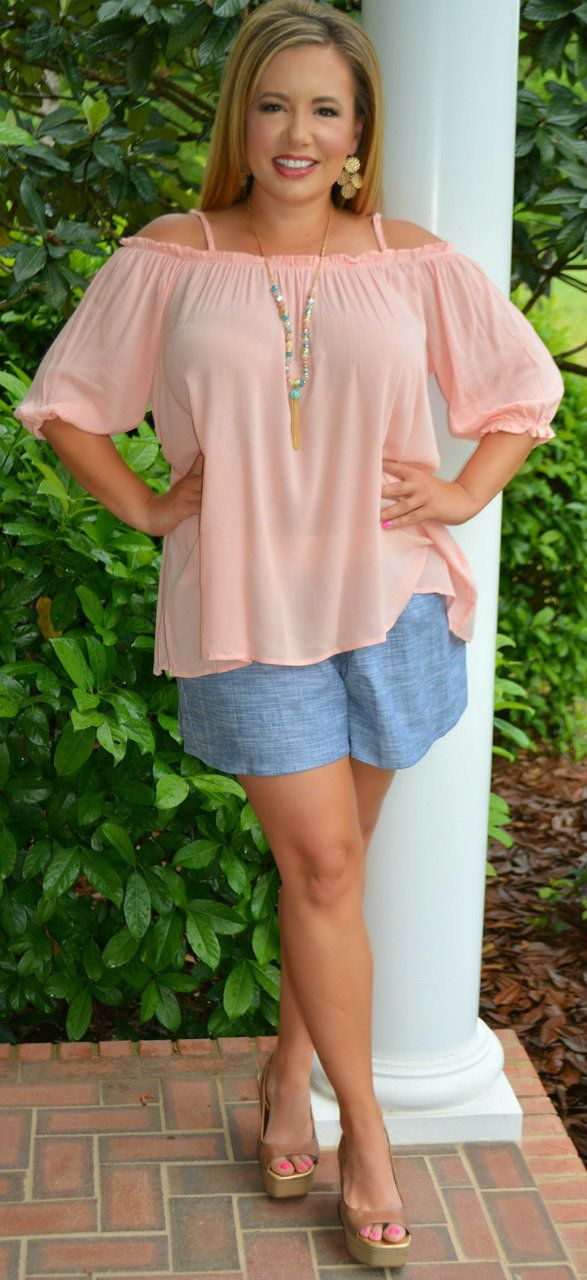 Perfectly Priscilla Boutique - All Day Chambray Shorts, $35.00 (http://www.perfectlypriscilla.com/all-day-chambray-shorts/)