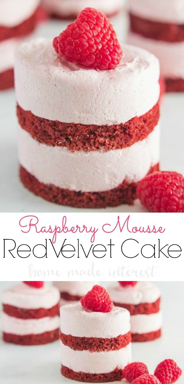 Raspberry Mousse Red Velvet Cake is an easy Valentine's Day dessert recipe made from layers of light, fluffy raspberry mousse sandwiched between thin layers of red velvet cake.It's a delicious raspberry mousse cake topped with fresh raspberries for a light dessert.  These easy mini red velvet cakes make a great Valentine's Day dessert recipe but they are delicious all year long! #mousse #dessert #valentinesday #redvelvetcake #cake