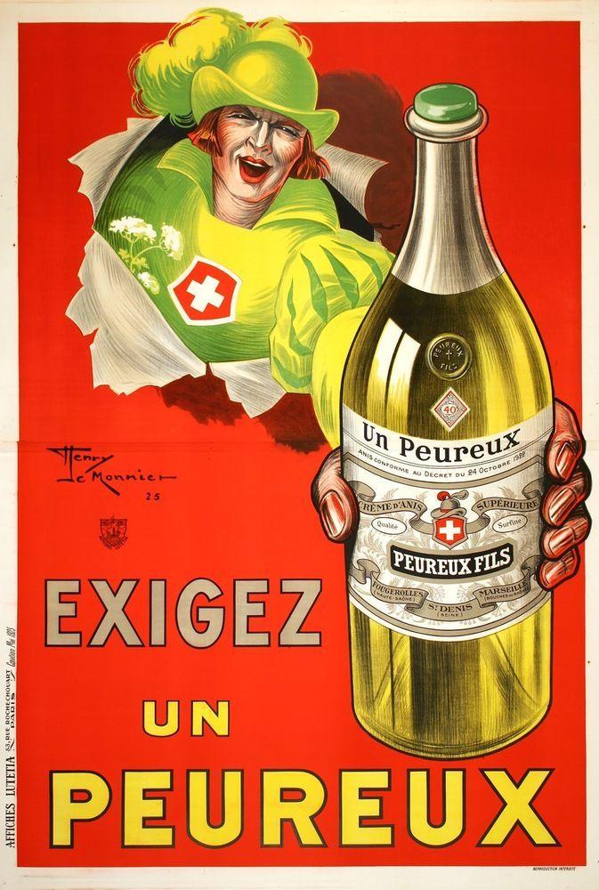 Original Vintage Poster Exigez un Peureux by Le Monnier 1925 French Liquor #Vintage