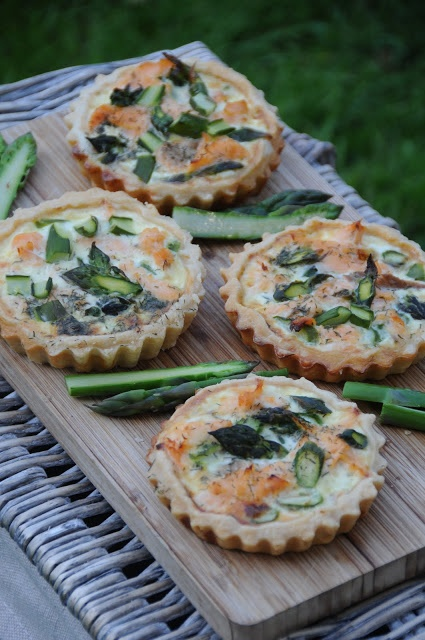 British asparagus, smoked trout and dill tartlets