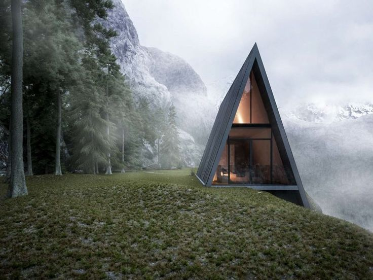 Beautifully Minimal Triangular House That Sits At The Edge Of A Cliff - UltraLinx