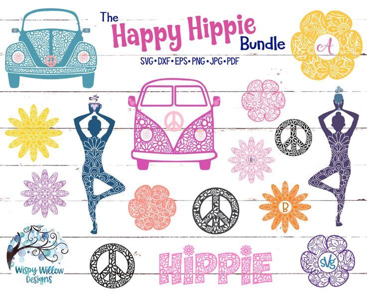 The Happy Hippie SVG Bundle DXF png jpg Mandala Etsy in