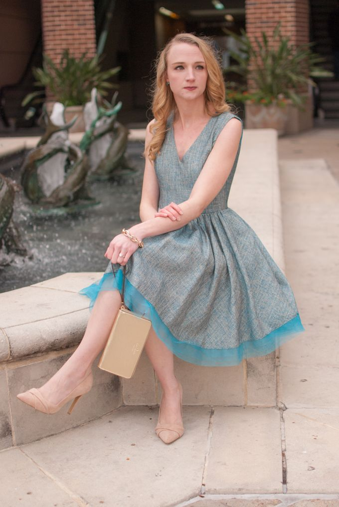 Valentine's Day outfit idea with a blue tweed dress