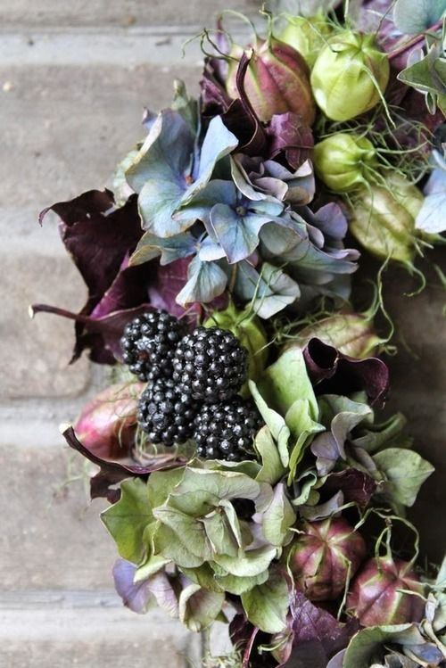 Autumn colours with hydrangea and berries