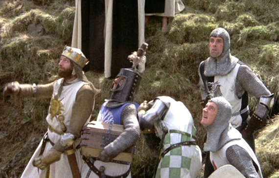 """MONTY PYTHON AND THE HOLY GRAIL (1975)  King Arthur: """"Well, we'll not risk another frontal assault. That rabbit's dynamite.""""   Forget Spamalot - go back to where it all began with the Python's first big screen adventure.    King Arthur didn't know what hit him in the knockabout medieval spoof """"which made Ben Hur look like an epic"""". Highlights included the Knights Who Say Ni, the Killer Rabbit and Carol Cleveland's bevy of nymphomaniacs attending to Michael Palin's Sir Galahad The Pure."""