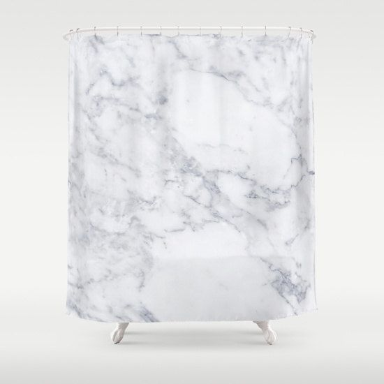 White Marble Shower Curtain by Huntleigh   Made from 100% polyester our designer shower curtains are printed in the USA and feature a 12 button-hole