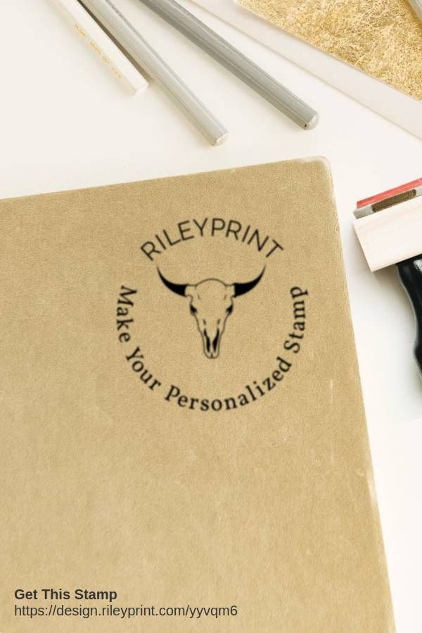 Custom Company Stamp Chop Round Rubber Stamps Personalized Buffalo Skull Animal Design Your Own Rileyprint