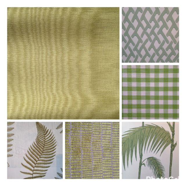 Green fabrics, green wallpaper. Groene stof en groen behang, te zien in onze winkel.