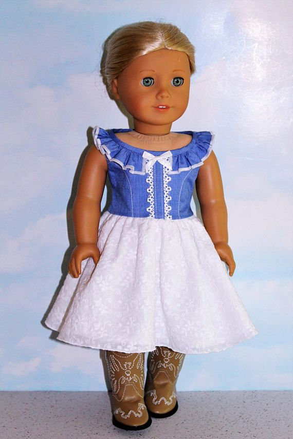 18 Inch Doll like American Girl Blue Chambray Ruffle Neck