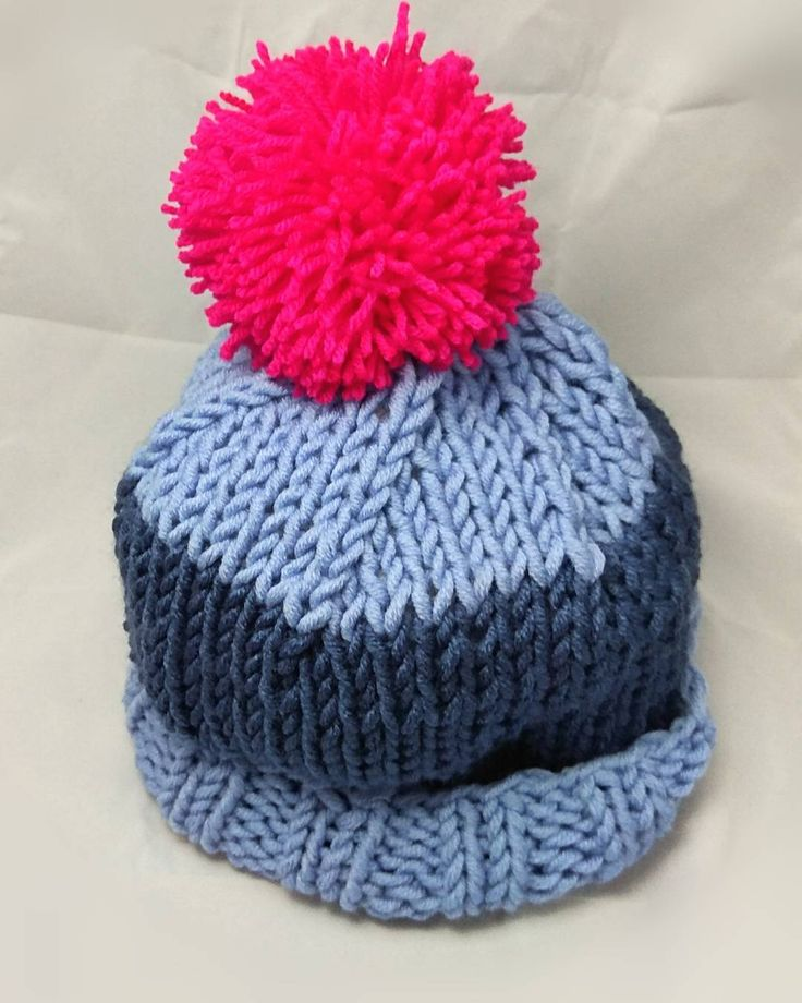 """Instagram: """"#handmade #knittinghat #knitting #needles #hat #cap #knitcap #wool 30%#acrilyc 70%#pompoms…"""""""