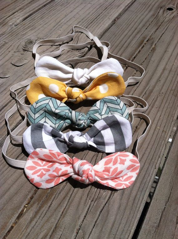 Fabric Knot Twist Bow Baby Headband Marina by Mylittlelovelybug, 6-12 months size, please.