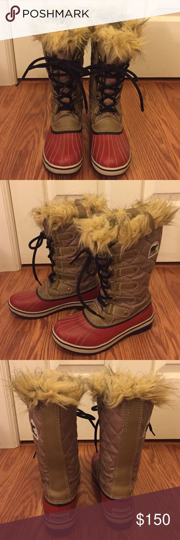 Sorel Joan of Arc Beige/Red Snow Boots 6 Gently worn one time. Practically brand new. Beige & Red Sorel snow boots. Size 6 Sorel Shoes Winter & Rain Boots