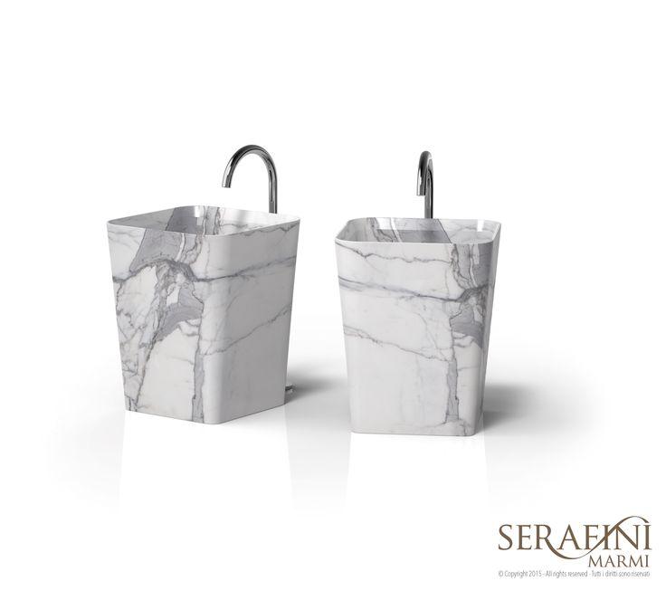 Marmi Serafini - Entity Cono medium   washbasin on block   statuario marble   #bathroom #design #marble   www.marmiserafini.it