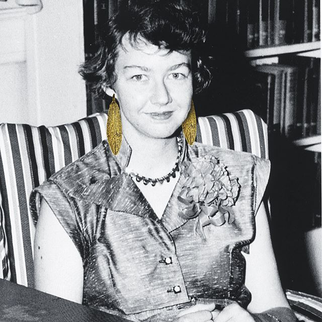 Mary Flannery O'Connor was an American writer and essayist known for her powerful prose and dark characters. While penning an essay, she was often found wearing the Sage earrings to spur creativity & wisdom. #maryflanneryoconnor #shoporchard #essayist #sage #writer #orchardwomen