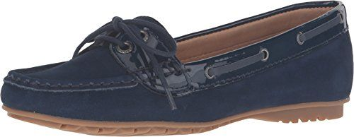 Sebago Womens Meridan Two Eye Flat Navy NubuckPatent 8 M US >>> Want additional info? Click on the image. Note:It is Affiliate Link to Amazon.
