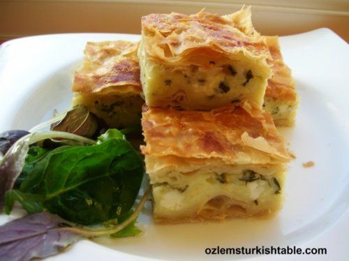 Cheese and parsley filled tray pastry; Peynirli tepsi boregi; easy and delicious for the whole family
