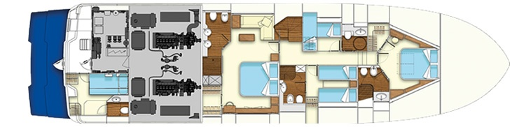 Lower deck - Mochi Craft - Long Range 25 #yacht #luxury #ferretti #mochi