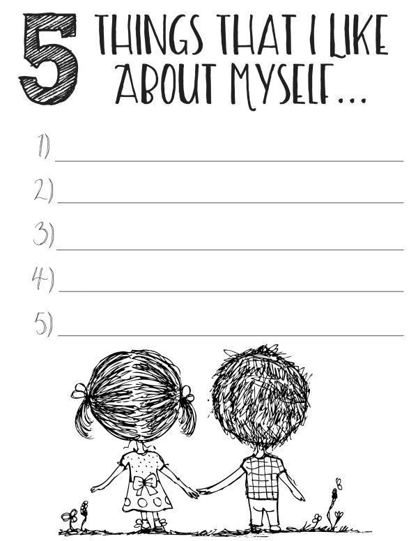 Give yourself a figurative pat on the back by listing 5 things you like about yourself with these free printable self esteem worksheets.