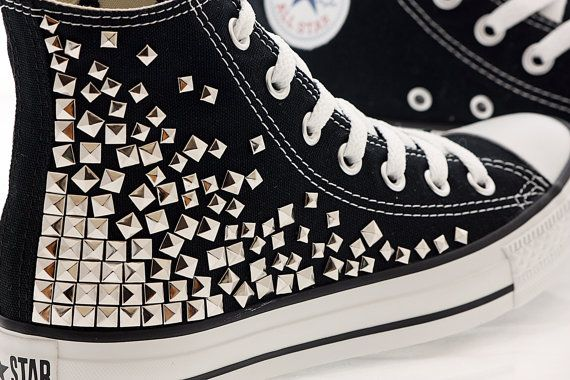 Studded Converse, Black converse with Silver pyramid studs by CUSTOMDUO on ETSY. $110.00, via Etsy.