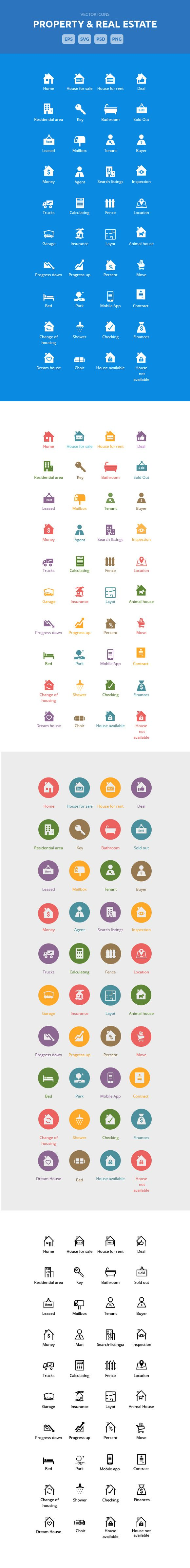 Property & Real Estate Icons by bestwebsoft on Creative Market