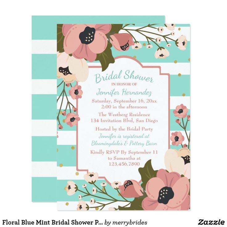 Floral Blue Mint Bridal Shower Pink Flowes Stripes Card
