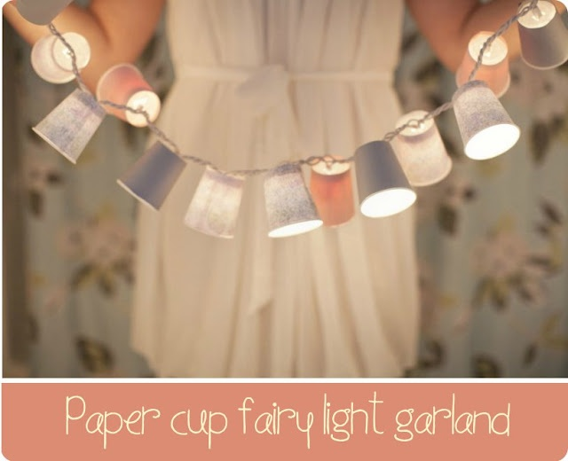 paper cup fairy light garland