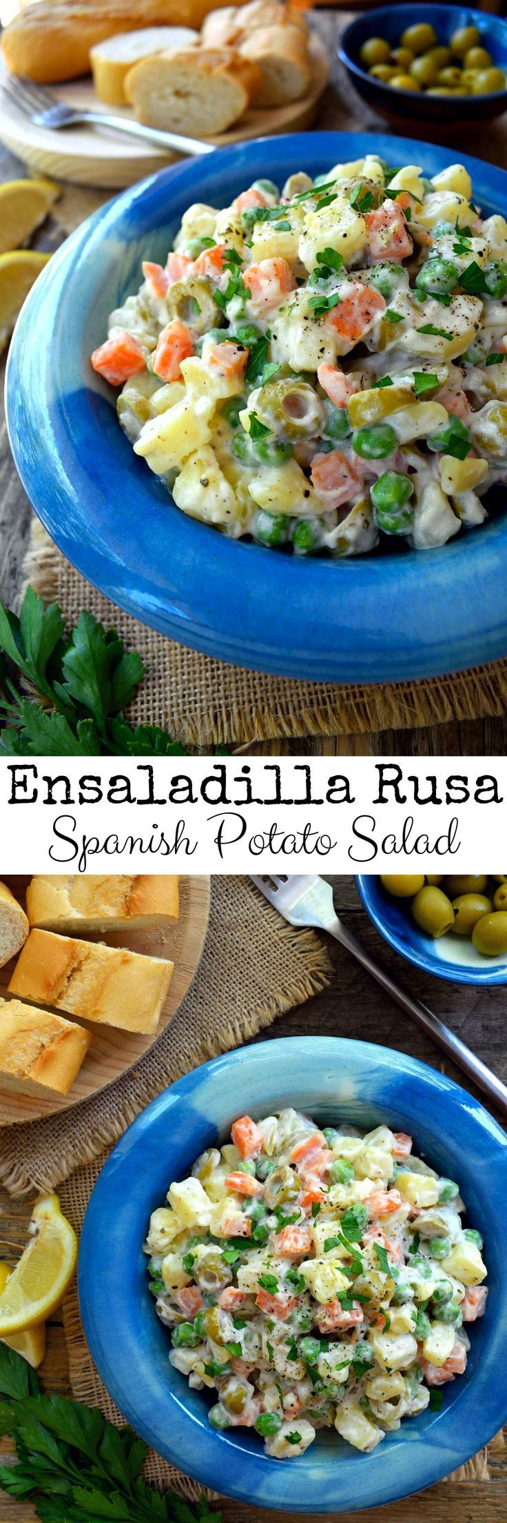 Ensaladilla rusa is a very common tapa dish in Spain. A very easy and filling potato salad, here it´s done vegan with aquafaba mayonnaise.
