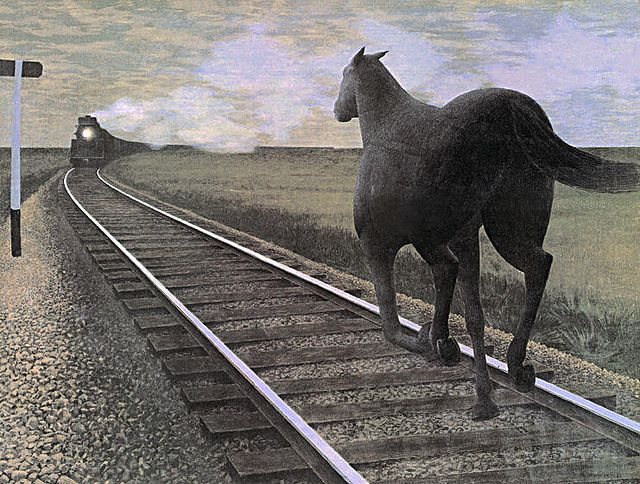 Colville, Alex (Canadian, b. 1920) - Horse and Train  - 1954