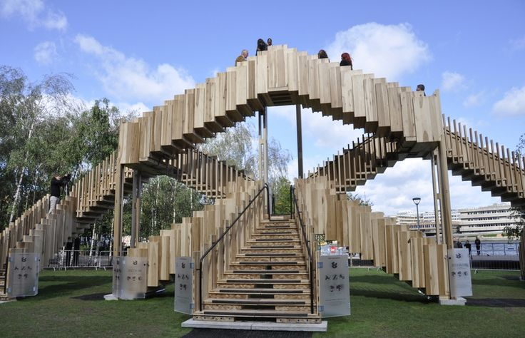 #Sustaineble Endless Stair made from laminated American tulipwood that opened London Design Festival