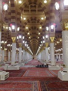Inside view of the Phophets Mosque, Madīnah, Saudi Arabia  - Muhammad Prophet of Islām is buried here.
