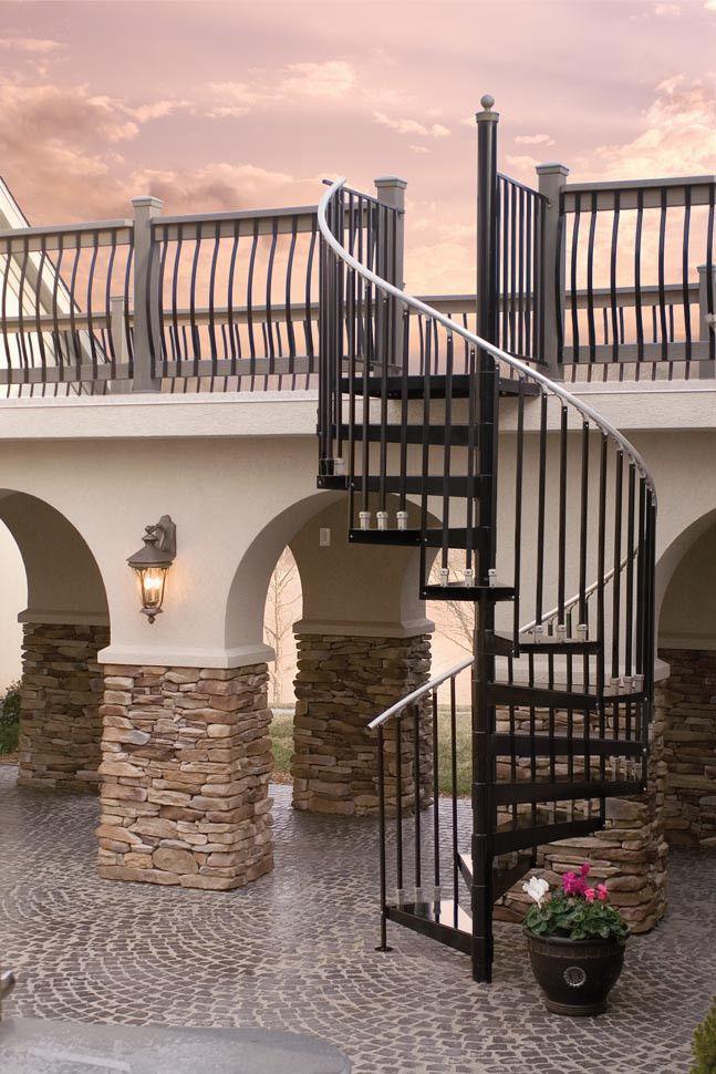 "The Iron shop 5' 0"" Diameter CODE Metal Kit with optional aluminum ball center pole cap and balcony landing railing from waybuild"