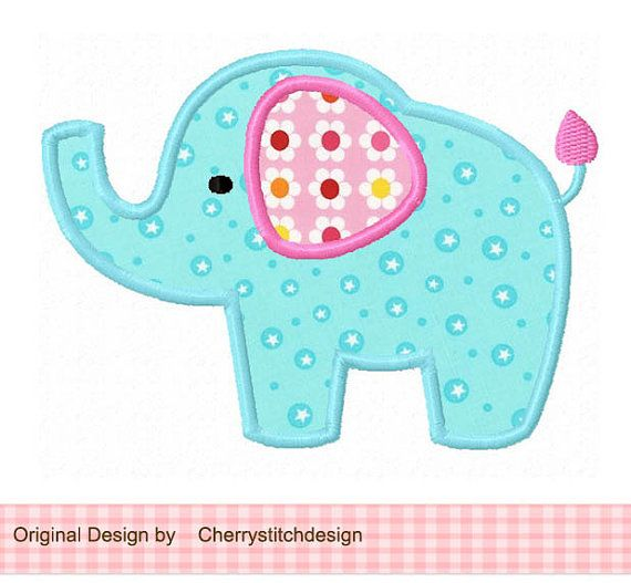 Elephant  04 Applique -4x4 5x7 6x10-Machine Embroidery Applique Design- For Samantha